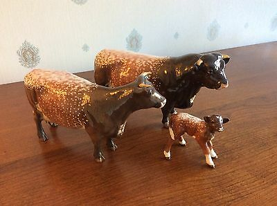 Beswick Dairy Shorthon Family Cow ,calf ,and Bull 1504, 1510,and 1406 C.ex Cond