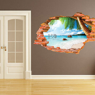 3D Window Beach Fashion Mural Removable Wall Stickers Art Vinyl Decal Room Decor