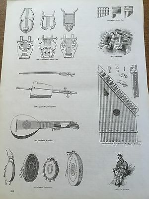 c19th Antique 1845 Steel engraving Musical String Instruments Lute Lyre Violin