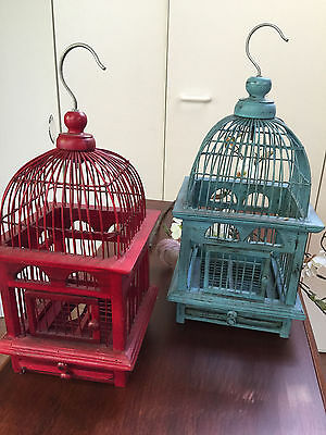 Pair of Bird Cages Wooden - Cage