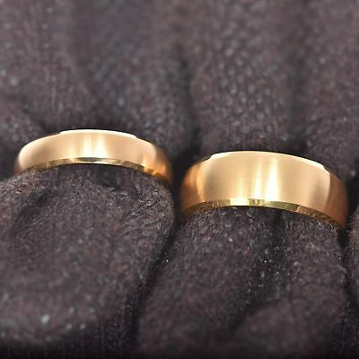 Gold Tungsten His & Hers Engagement Wedding Band Ring Sets Brushed Bevel Edge