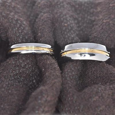 Tungsten His & Hers Engagement Wedding Band Ring Sets Grooved Gold Strip Center
