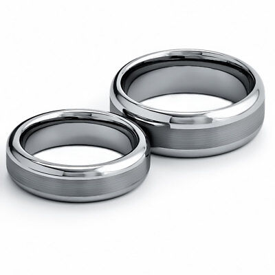 Tungsten His & Hers Engagement Wedding Band Ring Sets Brush Top Round Edge