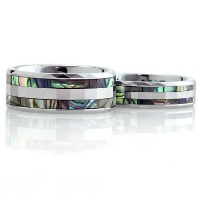 Tungsten His & Hers Engagement Wedding Band Ring Sets Abalone Shell Facet Edge