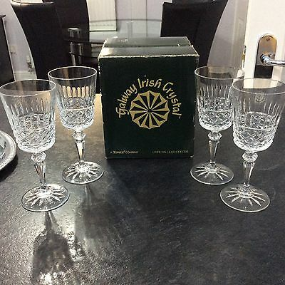 Galway Irish Crystal,Box Set Of 4 Beautiful RATHMORE Cut Pattern Sherry Glasses.