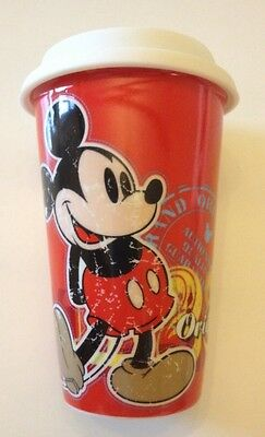 Disney Parks Original Mickey Mouse Ceramic Drinking Mug With Silicone Lid