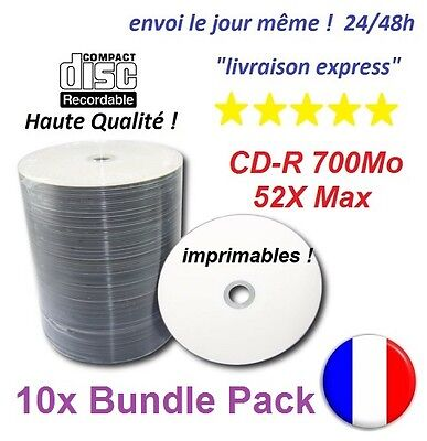 10 CD-R vierge CDR 700Mo 52X haute qualité extra protection imprimables