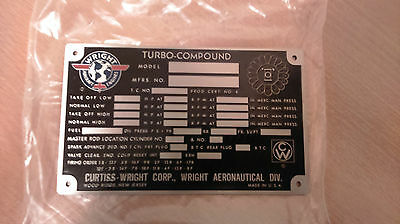 Repro Data Plate Curtiss Wright Engine