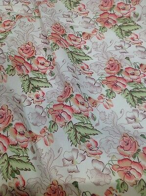 Retro Poly Cotton Fabric Rose And Beige Floral On White 112 Cm X 150 Cm