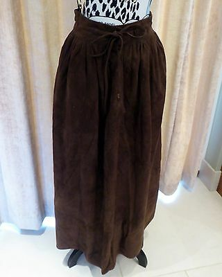 Genuine Vintage Mulberry Brown Suede Skirt - Size M - Fab!