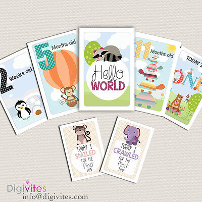 Baby Milestone Cards, Baby Boy Moments and Milestones, Baby Shower, Announcement