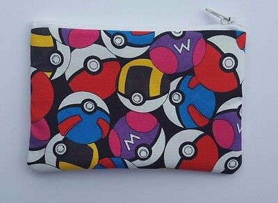 Pokemon Poke Balls Fabric Handmade Zippy Coin Purse Storage Pouch