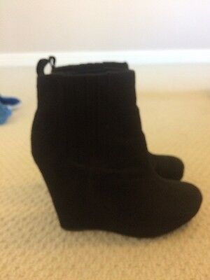 H&M Black Suede Wedge Ankle Boots Size 5