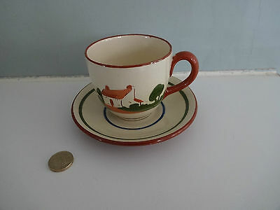 "Vintage Motto Ware Dartmouth Pottery- cup & saucer ""Ave a cup o' tay"""