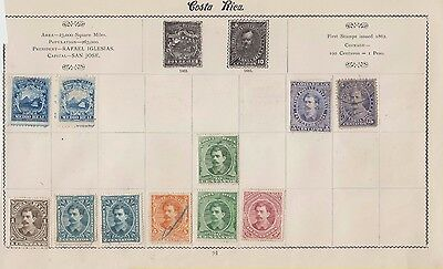 Ls153  Extremely Early Stamps From Costa Rica 1880 Onwards On Old Album Page