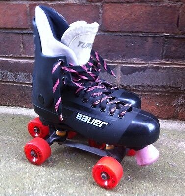 Bauer Turbo 33 Size 12 Quad Roller Skates Wide Hangers Lazer Wheels
