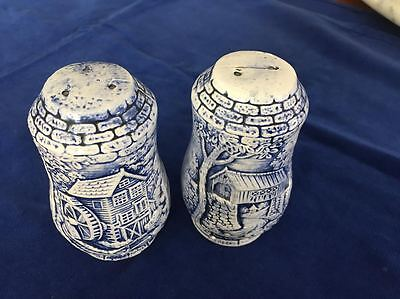 Vintage Blue And White China Salt And Pepper Shakers