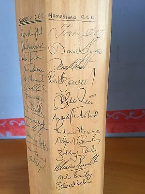 1970/80s full size Bat Signed x 37 from Surrey Hampshire & Gloucestershire teams