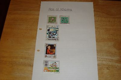 Ras al Khaima stamps, selling old collection of 5 stamps, see scan