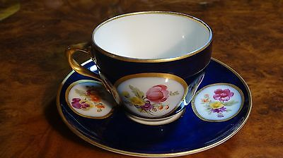 19th Century Cobalt Blue KPM Hand Painted Flower Cup and Saucer Royal Vienna