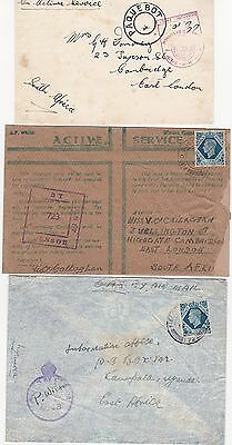 Lot of 3 MARITIME WW2 MAIL UK SOUTH & EAST AFRICA 1940's Cover Front CENSURE(495