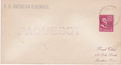 MARITIME MAIL HOLLAND 1952 Cover Ship ss AMERICAN DEFENDER Cancel PAQUEBOT (521