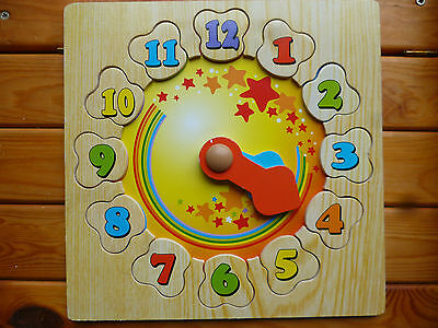 Wooden Clock–Jigsaw–Puzzle–Toy–Educational–Counting–Telling Time–Good Condition