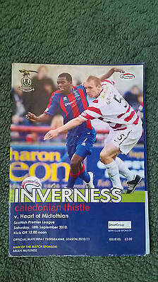 INVERNESS CALEDONIAN THISTLE v HEARTS – 18.09.10 – PROGRAMME
