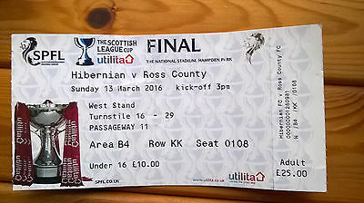 HIBERNIAN v ROSS COUNTY – SCOTTISH LEAGUE CUP FINAL – 13.03.16 – USED TICKET