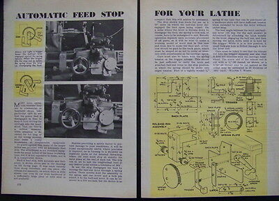 Automatic Feed Stop for small Metal Lathes 1945 How-To build PLANS