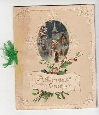 A Christmas Greeting Church Bells Folding Embossed Victorian Card c 1880s