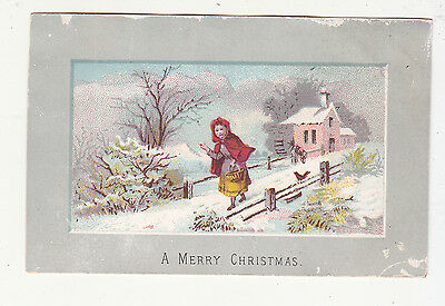 A Merry Christmas Red Riding Hood Lane Snow House Victorian Card c1880s