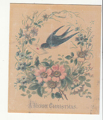 A Merry Christmas Bird Flying w Envelope Flowers Vict Card c1880s