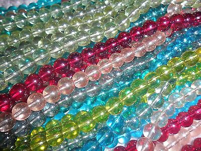 200x high quality 8mm transparent shimmer glass round beads, mixed colour (2BAGS