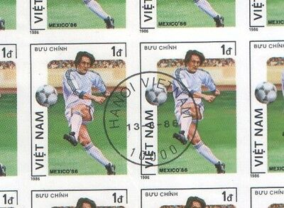 Vietnam Sheet of 1d World Cup Football Mexico Stamps 1986 CTO