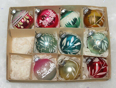 10 Vtg Stenciled Hand Painted Mica Christmas Ball Ornaments Germany USA 1 3/4""