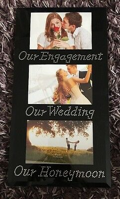 Our Engagement Honeymoon Wedding Photo Picture Frame Gift Anniversary Mirror New