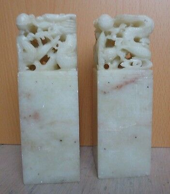 Pair of old Chinese Shoushan Stone Carved Seals