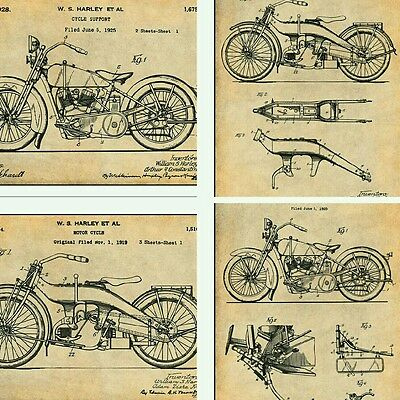 "Set of 8 Harley Davidson Patent Print Unframed Posters 8.5"" X 11"""