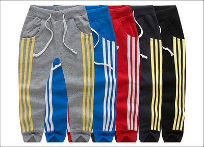 Kids Boys Girls Casual Sports Pants Elastic Waist Fully Trousers Pants Clothes