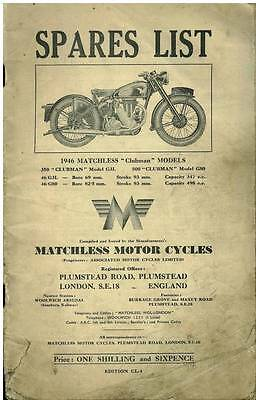 MATCHLESS MOTORCYCLE 350 & 500cc CLUBMAN G3L & G80 SPARE PARTS MANUAL - 1946