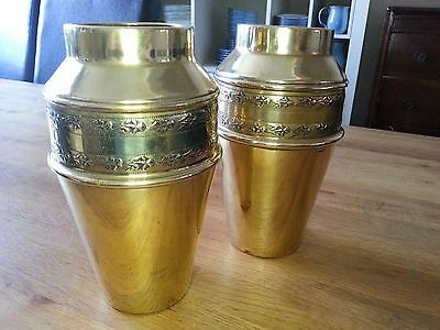☆ BEAUTIFUL PAIR OF ANTIQUE INDIAN HEAVY BRASS URNS VASES vintage