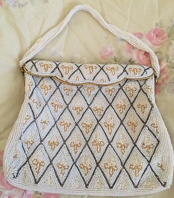 Antique French Vintage Silk Hand Beaded Purse Hand Bag Gorgeous