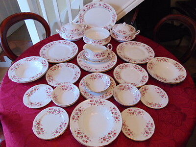 Queen Anne Cascade Roses Dinner Set (36 Pieces) In Excellent Unused Condition