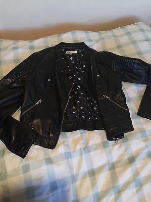 Girls Black Faux Leather Jacket Age 12-13