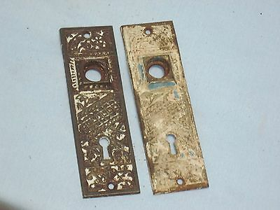 Antique Pair Of Victorian EASTLAKE Solid CAST IRON Door Knob Backplates.