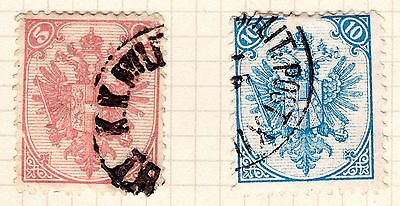 Bosnia Stamps. 1879 5k, 10k. SG146, 139. Used. #2218