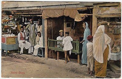INDIA - Native Shops - a 1912 postally used postcard