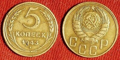 Russia - Soviet  : 1943   5 Kopeks Some Scratches Revers  Z317