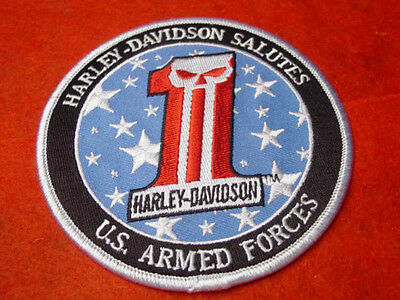 """Harley Davidson Motorcycles """"salutes The Military"""" Patch - Willie G. Skull - Hog"""